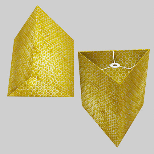 Triangle Lamp Shade - P71 - Batik Yellow Circles, 40cm(w) x 40cm(h)