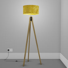 Oak Tripod Floor Lamp - P71 - Batik Yellow Circles
