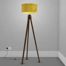 Sapele Tripod Floor Lamp - P71 - Batik Yellow Circles