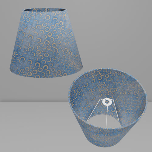 Conical Lamp Shade P72 - Batik Blue Circles, 23cm(top) x 40cm(bottom) x 31cm(height)