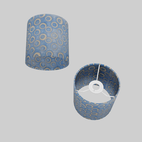 Drum Lamp Shade - P72 - Batik Blue Circles, 15cm(d) x 15cm(h)