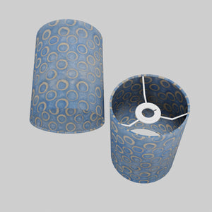 Drum Lamp Shade - P72 - Batik Blue Circles, 15cm(d) x 20cm(h)