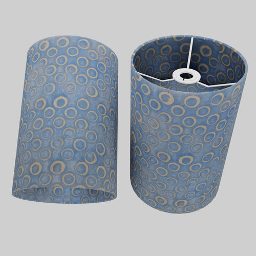Drum Lamp Shade - P72 - Batik Blue Circles, 20cm(d) x 30cm(h)
