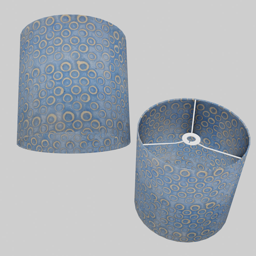 Drum Lamp Shade - P72 - Batik Blue Circles, 30cm(d) x 30cm(h)