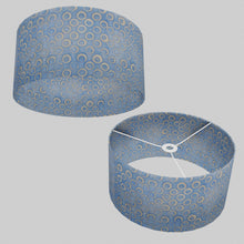 Drum Lamp Shade - P72 - Batik Blue Circles, 40cm(d) x 20cm(h)