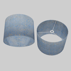 Drum Lamp Shade - P72 - Batik Blue Circles, 40cm(d) x 30cm(h)