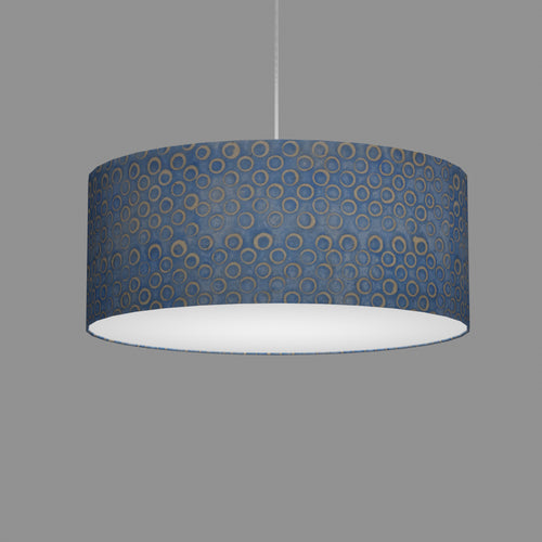Drum Lamp Shade - P72 - Batik Blue Circles, 50cm(d) x 20cm(h)