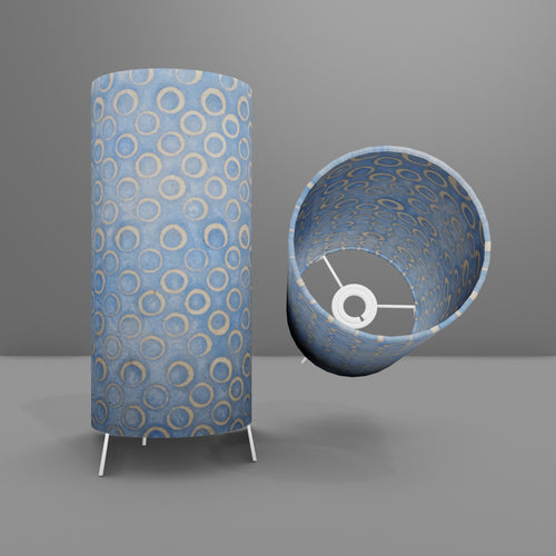 Free Standing Table Lamp Small - P72 ~ Batik Blue Circles