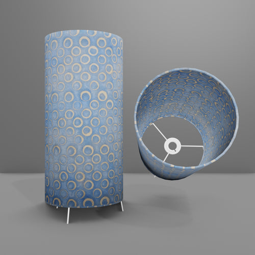 Free Standing Table Lamp Large - P72 ~ Batik Blue Circles