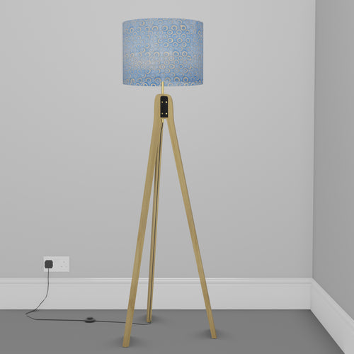 Oak Tripod Floor Lamp - P72 - Batik Blue Circles