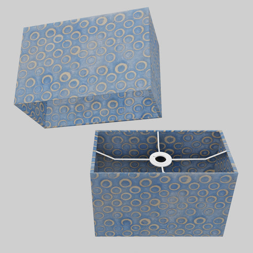 Rectangle Lamp Shade - P72 - Batik Blue Circles, 30cm(w) x 20cm(h) x 15cm(d)
