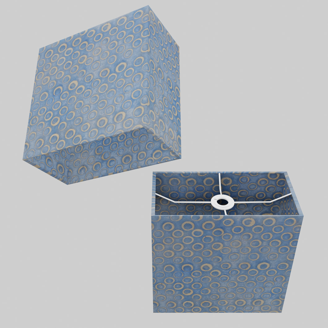 Rectangle Lamp Shade - P72 - Batik Blue Circles, 30cm(w) x 30cm(h) x 15cm(d)