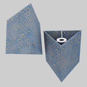 Triangle Lamp Shade - P72 - Batik Blue Circles, 20cm(w) x 20cm(h)