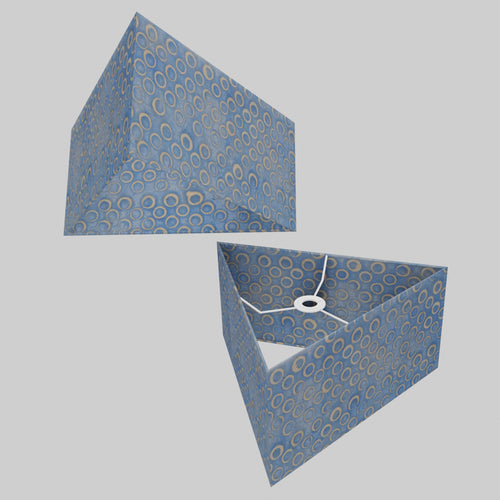 Triangle Lamp Shade - P72 - Batik Blue Circles, 40cm(w) x 20cm(h)