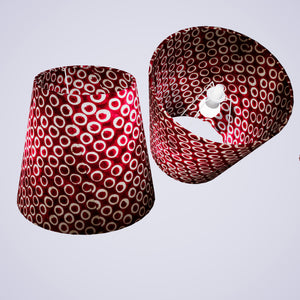 Conical Lamp Shade P73 - Batik Cranberry Circles, 23cm(top) x 35cm(bottom) x 31cm(height)