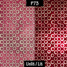 Triangle Lamp Shade - P73 - Batik Red Circles, 20cm(w) x 30cm(h) - Imbue Lighting