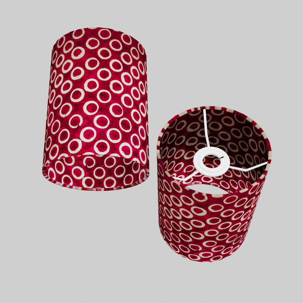 Drum Lamp Shade - P73 - Batik Cranberry Circles, 15cm(d) x 20cm(h)