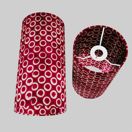Drum Lamp Shade - P73 - Batik Cranberry Circles, 15cm(d) x 30cm(h)