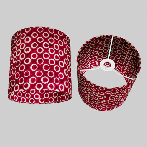 Drum Lamp Shade - P73 - Batik Cranberry Circles, 20cm(d) x 20cm(h)