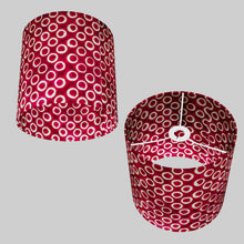 Drum Lamp Shade - P73 - Batik Cranberry Circles, 25cm x 25cm