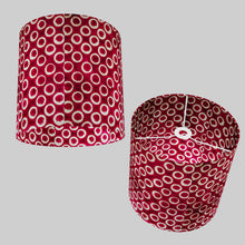Drum Lamp Shade - P73 - Batik Cranberry Circles, 30cm(d) x 30cm(h)