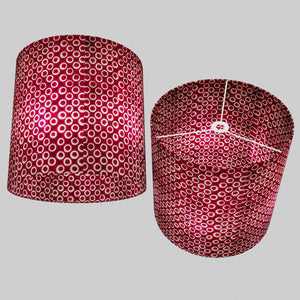 Drum Lamp Shade - P73 - Batik Cranberry Circles, 40cm(d) x 40cm(h)