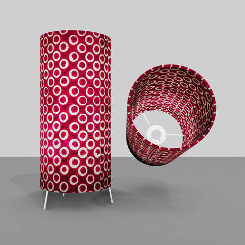 Free Standing Table Lamp Small - P73 ~ Batik Cranberry Circles
