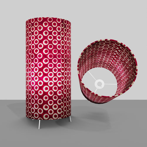 Free Standing Table Lamp Large - P73 ~ Batik Cranberry Circles
