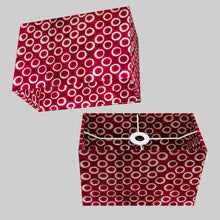 Rectangle Lamp Shade - P73 - Batik Cranberry Circles, 30cm(w) x 20cm(h) x 15cm(d)