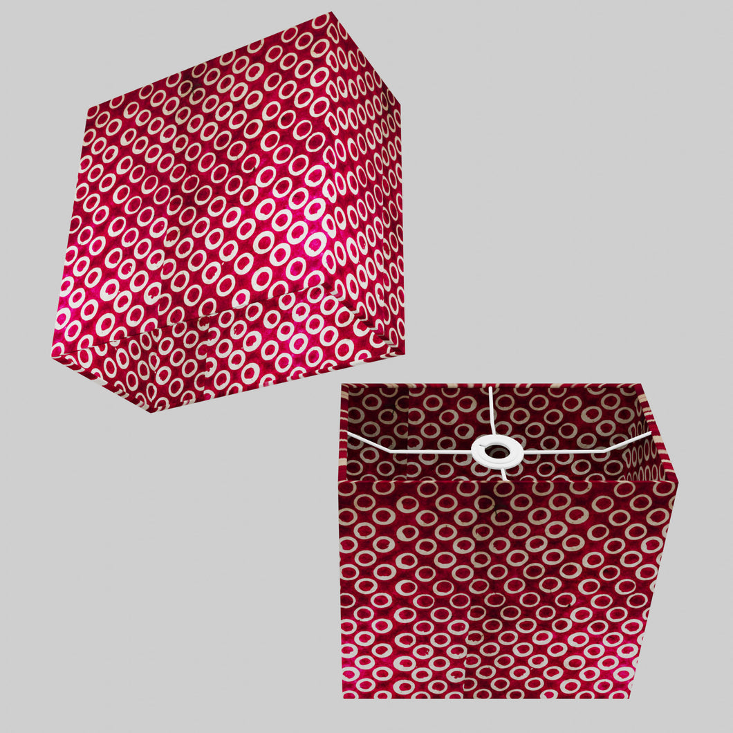 Rectangle Lamp Shade - P73 - Batik Cranberry Circles, 30cm(w) x 30cm(h) x 15cm(d)