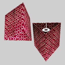 Triangle Lamp Shade - P73 - Batik Cranberry Circles, 20cm(w) x 20cm(h)