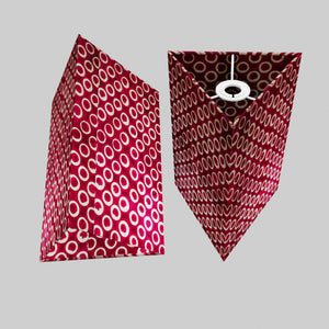 Triangle Lamp Shade - P73 - Batik Cranberry Circles, 20cm(w) x 30cm(h)