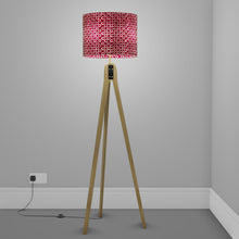 Oak Tripod Floor Lamp - P73 - Batik Cranberry Circles