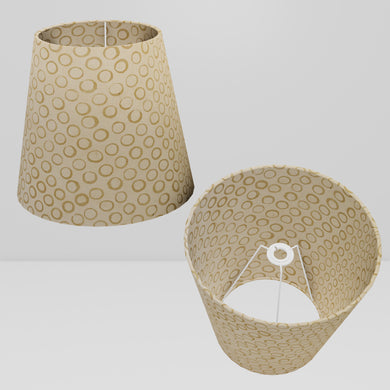 Conical Lamp Shade P74 - Batik Natural Circles, 23cm(top) x 35cm(bottom) x 31cm(height)