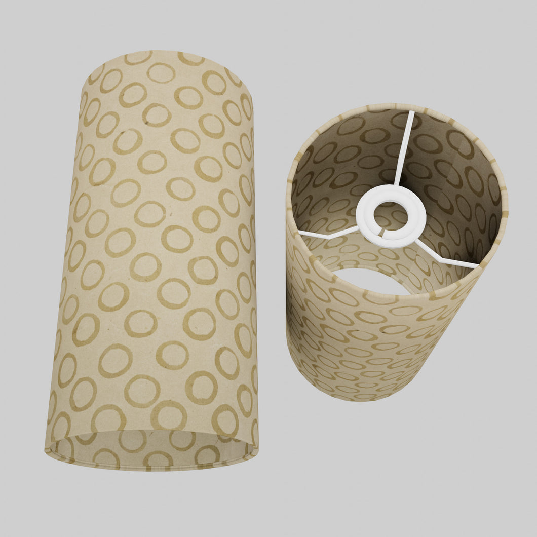 Drum Lamp Shade - P74 - Batik Natural Circles, 15cm(d) x 30cm(h)