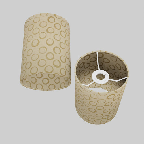Drum Lamp Shade - P74 - Batik Natural Circles, 15cm(d) x 20cm(h)