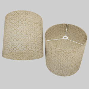 Drum Lamp Shade - P74 - Batik Natural Circles, 40cm(d) x 40cm(h)