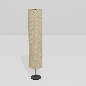 Drum Floor Lamp - P74 - Batik Natural Circles, 22cm(d) x 114cm(h)
