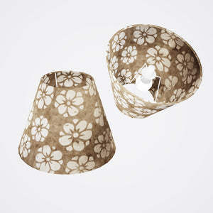 Conical Lamp Shade P75 - Batik Star Flower Natural, 15cm(top) x 30cm(bottom) x 22cm(height)