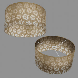 Drum Lamp Shade - P75 - Batik Star Flower Natural, 40cm(d) x 20cm(h)