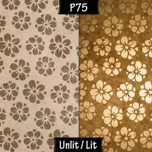 Rectangle Lamp Shade - P75 - Batik Star Flower Natural, 30cm(w) x 30cm(h) x 15cm(d) - Imbue Lighting