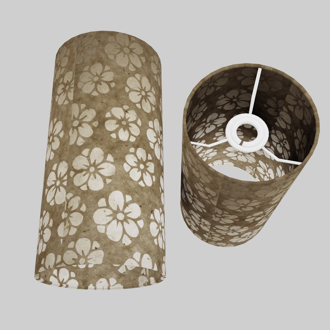 Drum Lamp Shade - P75 - Batik Star Flower Natural, 15cm(d) x 30cm(h)