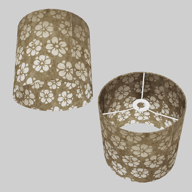 Drum Lamp Shade - P75 - Batik Star Flower Natural, 25cm x 25cm