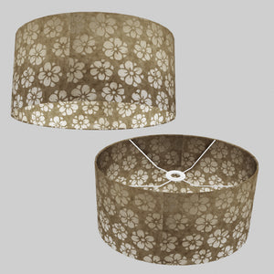 Oval Lamp Shade - P75 - Batik Star Flower Natural, 40cm(w) x 20cm(h) x 30cm(d)