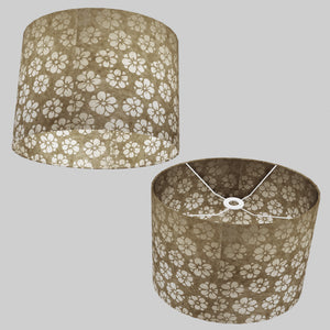 Oval Lamp Shade - P75 - Batik Star Flower Natural, 40cm(w) x 30cm(h) x 30cm(d)
