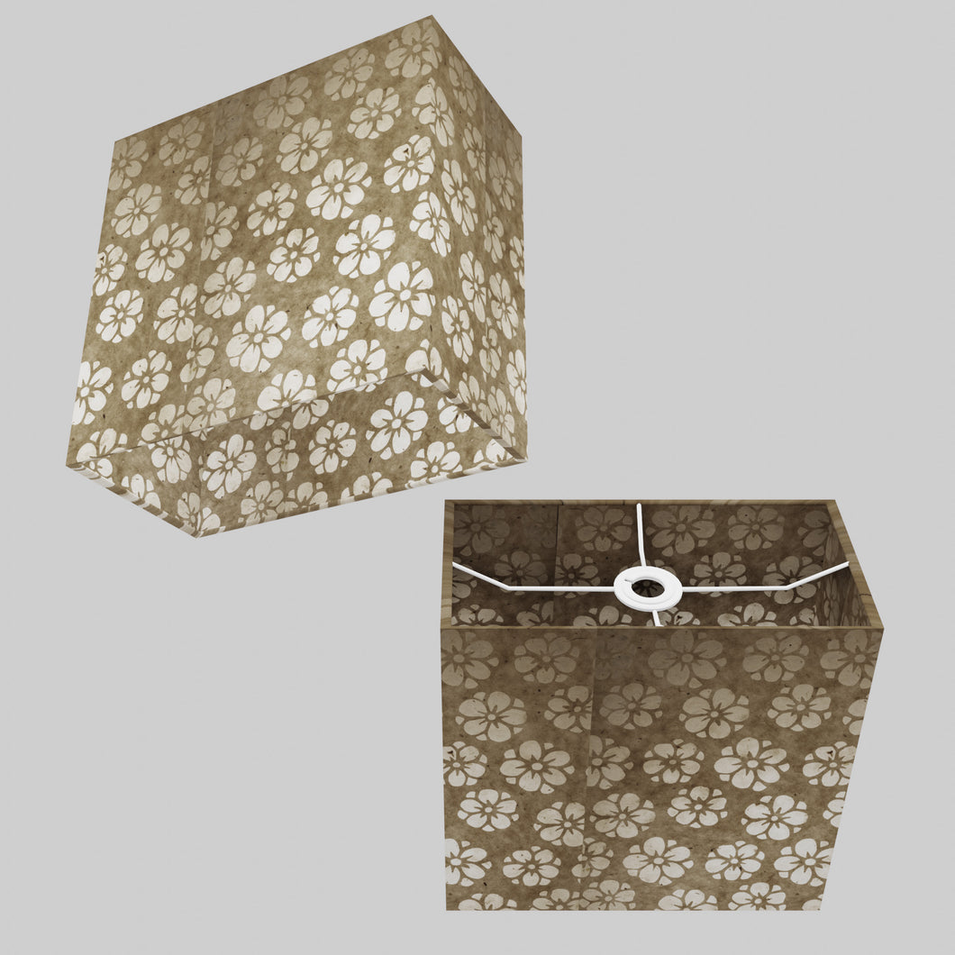 Rectangle Lamp Shade - P75 - Batik Star Flower Natural, 30cm(w) x 30cm(h) x 15cm(d)