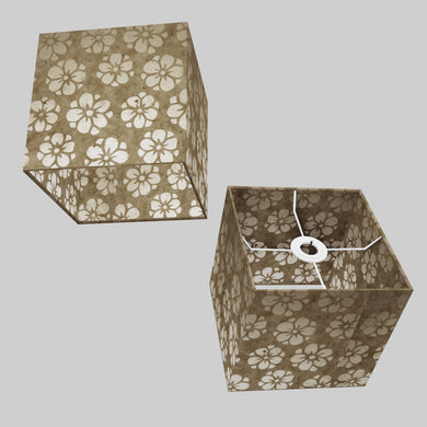 Square Lamp Shade - P75 - Batik Star Flower Natural, 20cm(w) x 20cm(h) x 20cm(d)