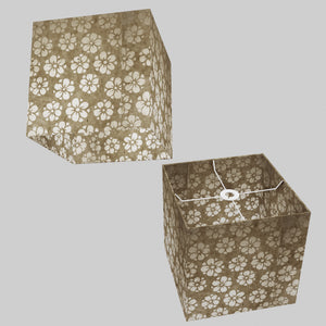 Square Lamp Shade - P75 - Batik Star Flower Natural, 30cm(w) x 30cm(h) x 30cm(d)