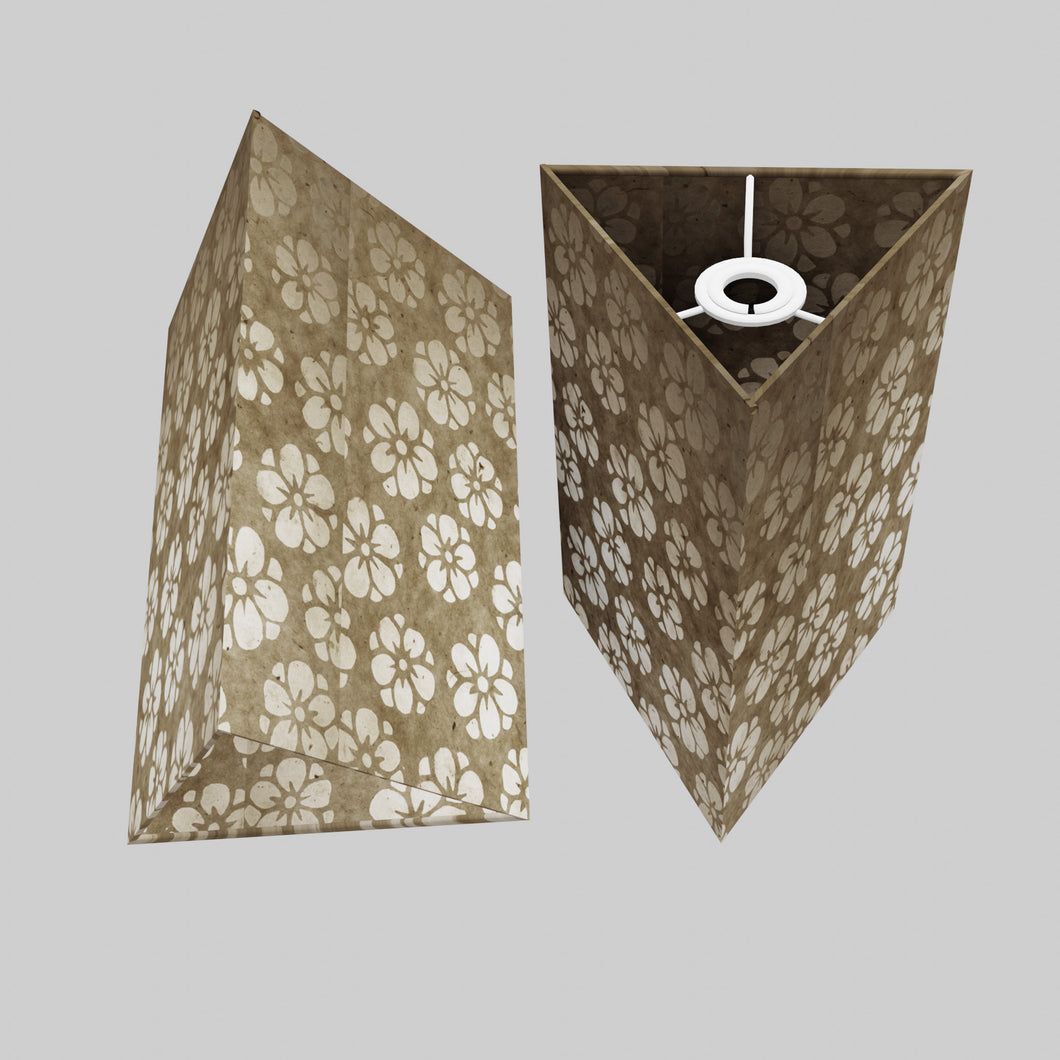 Triangle Lamp Shade - P75 - Batik Star Flower Natural, 20cm(w) x 30cm(h)