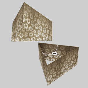 Triangle Lamp Shade - P75 - Batik Star Flower Natural, 40cm(w) x 20cm(h)